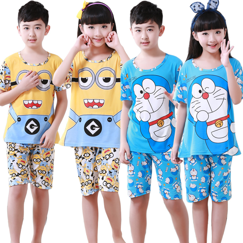 Summer Children Pajamas girl Short Will Garment Child Cartoon Lovely girl&boy Catamite Thin Section Suit Air Conditioner Serve(China (Mainland))