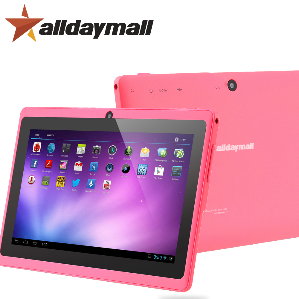 "Alldaymall Tablet 7"" 8GB ROM 512MB RAM Android 4.4 Quad Core Allwinner A33 1024*600 HD Pink Tablet PC Android Tablet 7 inch WIFI(China (Mainland))"