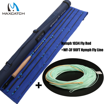 Maximumcatch ФУТОВ 3WT 4 ШТ. Нимфа Fly Fishing Rod & Нимфа Линия Combo Fast Action Fly Нимфа Стержня