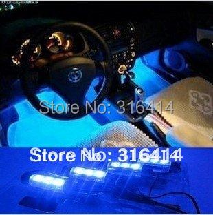 New! 4x 3LED Blue Interior lamp Interior light  foot light car decorative 4in1 12V LED lights