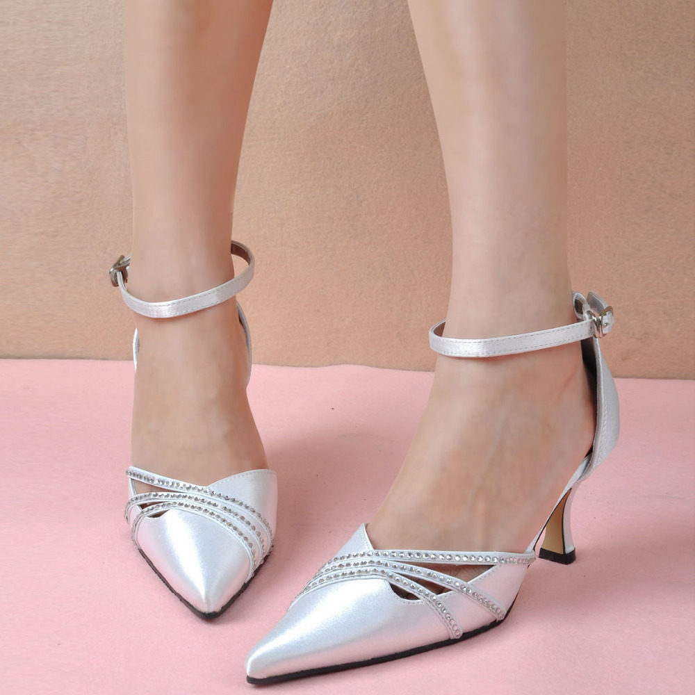 2015 Women White Bridal Evening Party Pumps Pointy Toe Ankle Straps High Heel Rhinestones Satin Wedding Shoes - Dragon River store
