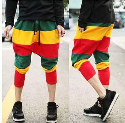 2014 New fashion Jamaican Reggae Harem Hip Hop Dance Pants Sweatpants Costumes Green Yellow Red men sports trousers  -  Carey Li's Plus Size store store