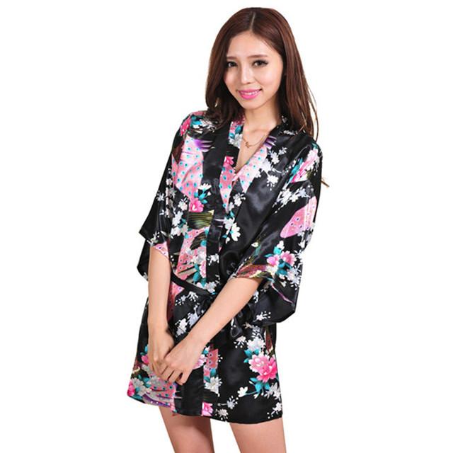 Новое поступление черный китайских женщин шелковый район мини халат сексуальная кимоно ...
