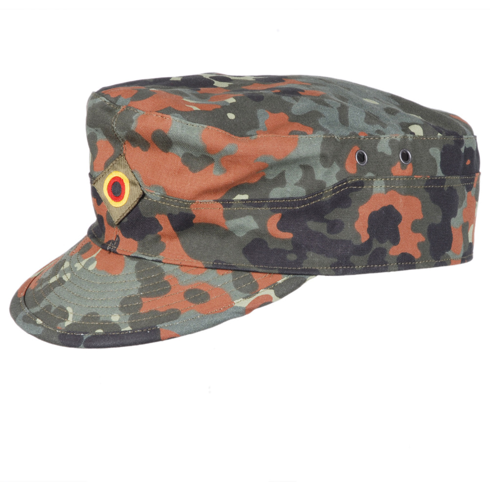 GERMAN ARMY FLECKTARN CAMO MILITARY CAMOUFLAGE FIELD CAP HAT SIZE L - 36297