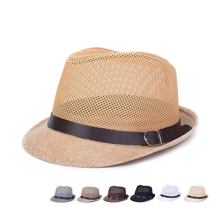 New Fashion Vintage 2015 Summer Women Men Unisex Casual Hemp Cotton Panama Hats Mesh Caps Trilby Jazz Hat Fedora Cap 8 Colors(China (Mainland))