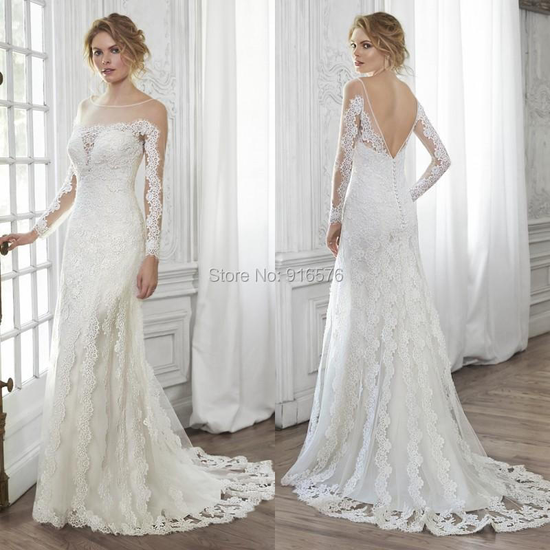 2015 lace wedding dress illusion sleeves v back bridal for Lace button back wedding dress