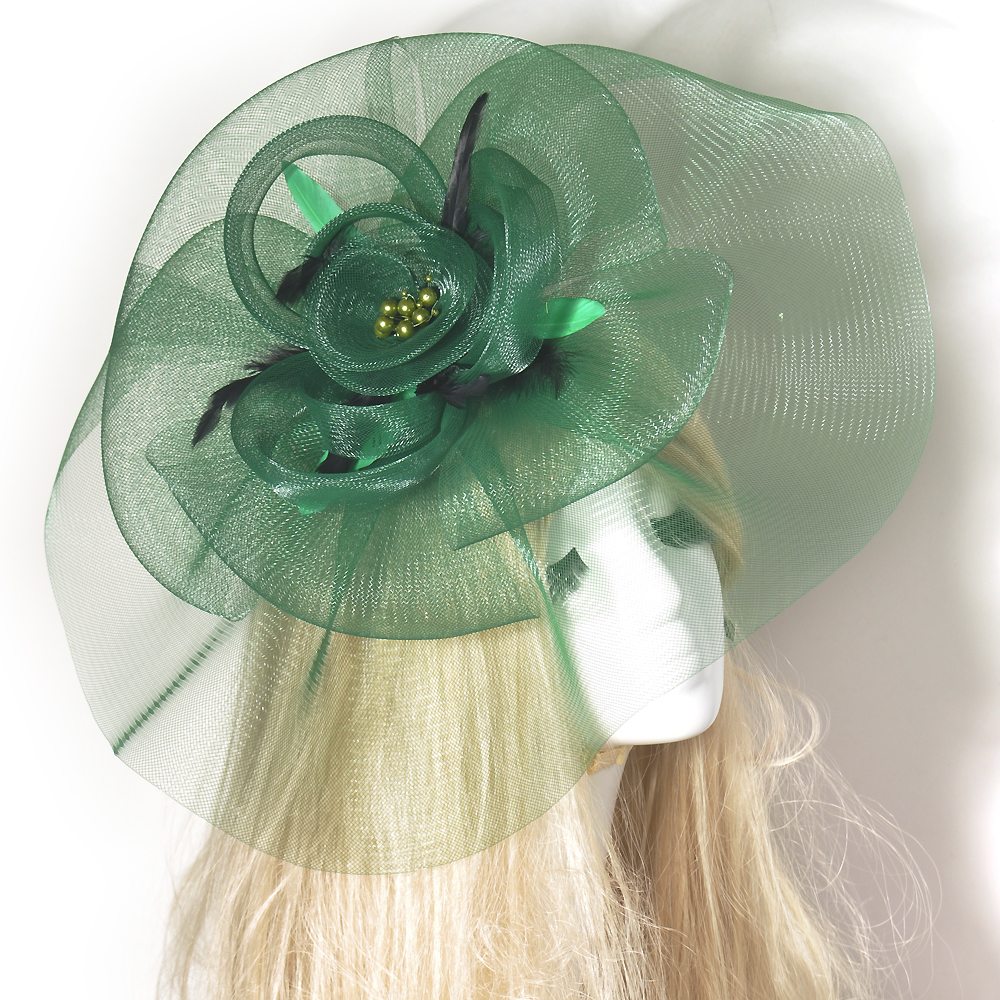Large Green Fascinator Wedding Feather Clip Net Hair Decoration Headwear Wedding Races Party Hens()