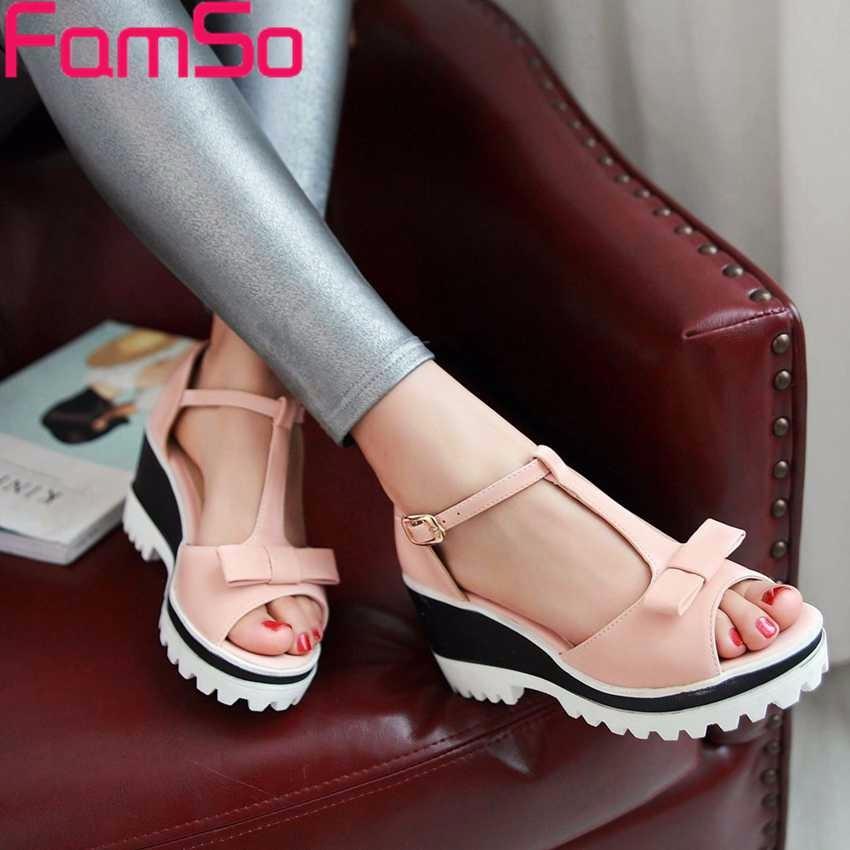 ซื้อ พลัสSize34-43 2016รองเท้าผู้หญิงรองเท้าแตะP Eep Toeคลาสสิกแพลตฟอร์มส้นสูงปั๊มรองเท้าหัวเข็มขัดสำนักงานรองเท้าแตะของผู้หญิงPS2554