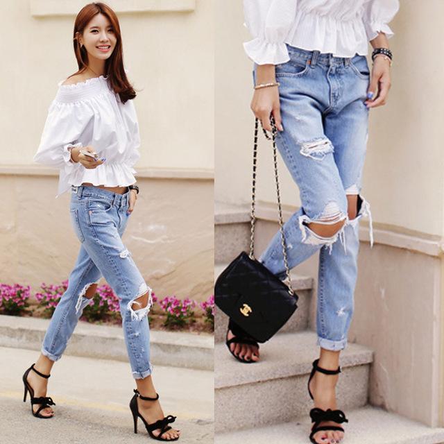 Женские свободные джинсы с дырками с низкой талией c0103