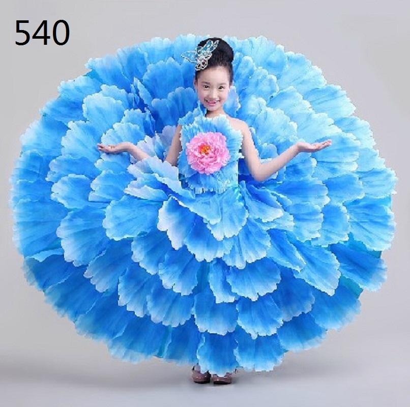 Flamenco dance costume expansion petal skirt costume spanish flamenco dress modern dance performance wear clothes For Girsl Kids