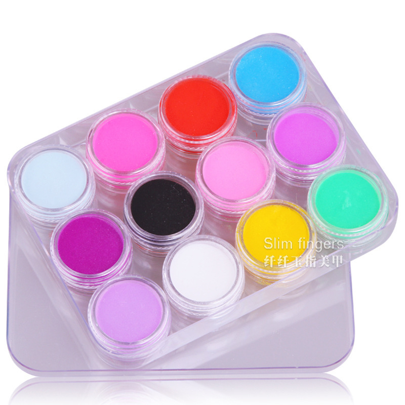 12 Colors Acrylic Powder Colourful Builder Polymer Dust Set For 3d Art Decoration Manicure Mold Crystal Nail Art Tips DIY Design(China (Mainland))