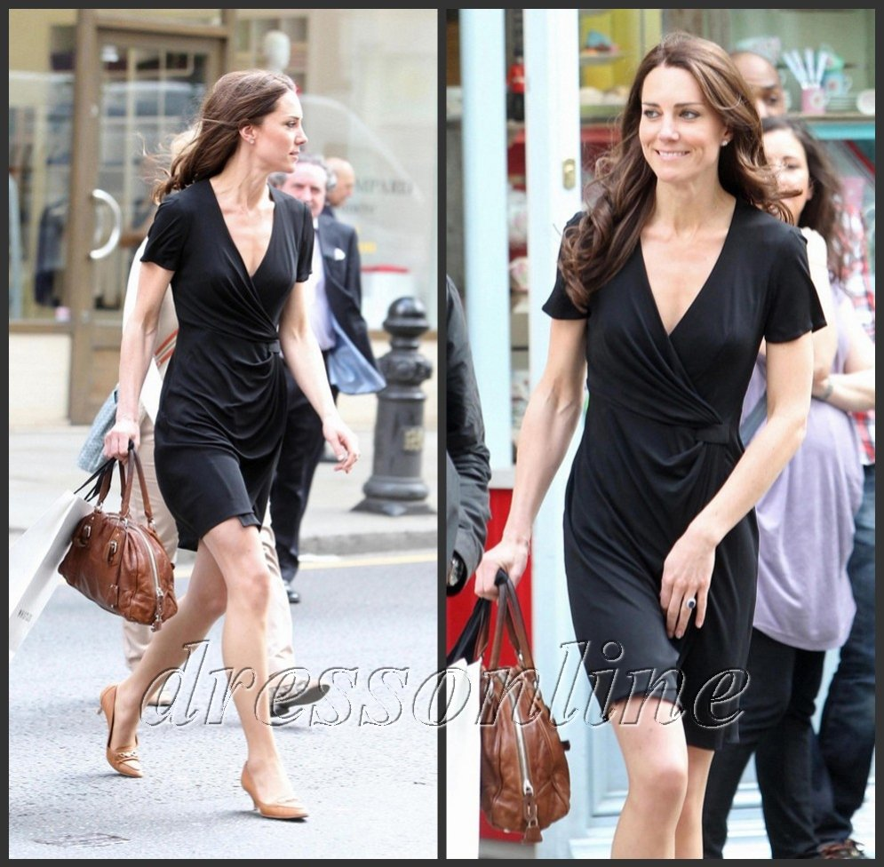 KT007 Kate Middleton Casual V-neck Little Black Wrap Dress Short Sleeves Red Carpet Party Dress Free Shipping(China (Mainland))