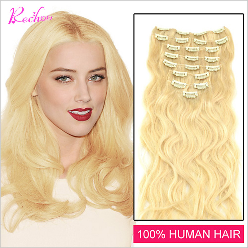 Гаджет  70G To 150G 7 Colors Human Hair Extension Clip In 7 Pcs Human Hair Extension 16 To 26 Inch Remy Body Wave Clip On Hair None Волосы и аксессуары