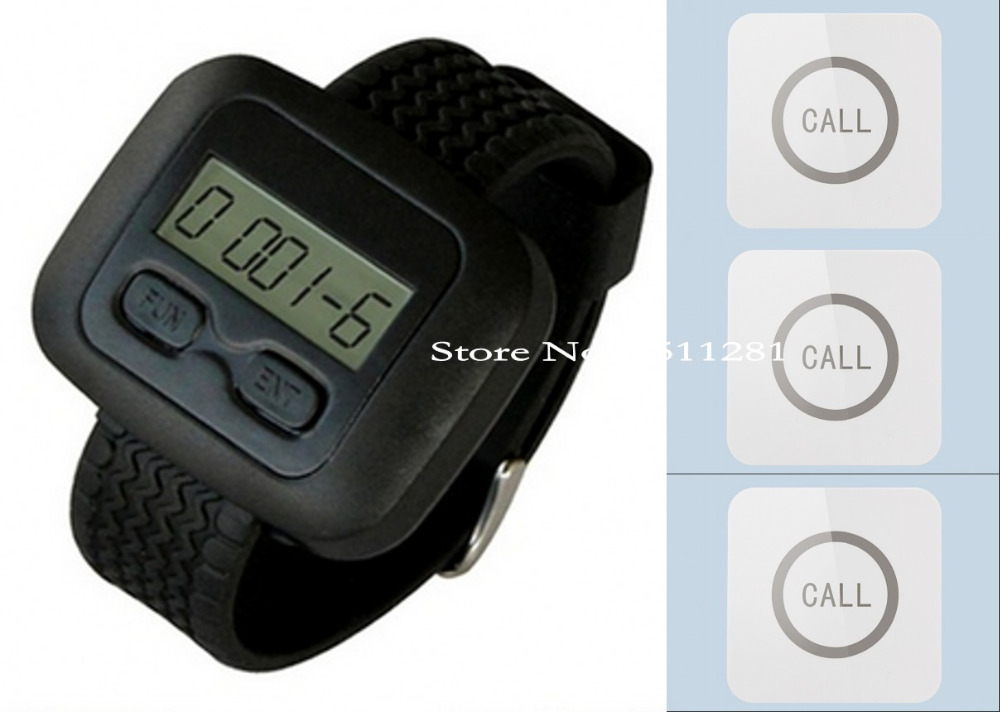 1pcs watch/wrist pager+3pcs touchable bells/Buttons as wireless nursing/paging system to improve customer's sactification