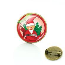 TAFREE Babbo natale Spille per Le Donne Bronzo Placcato Spilli rotondo di vetro cabochon Distintivo di Modo Buon regalo di Natale Dei Monili CM190(China)