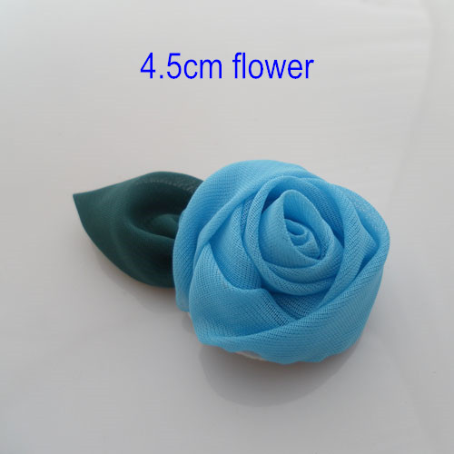 Free Shipping- 4.5cm Rose Flower With Leaf Handmade Rosettes Fabric Flowers For Clothing Accessories Shoe Flower Hair Corsage 20(China (Mainland))