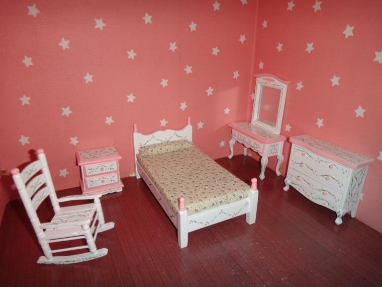 1:12 Miniature Doll House Bedroom Set Wooden Furniture Accessories bedroom furniture Bed Dollhouse Toy diy house model 6pcs/ Set(China (Mainland))