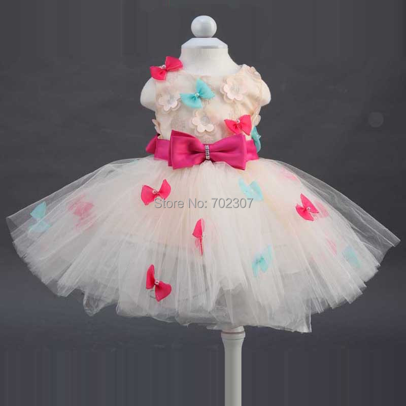 2015 Princess ball gown bow tie belt with colorful bow decorate 2015 girls summer fashion dress 12pcs/lot free DHL 150374<br><br>Aliexpress