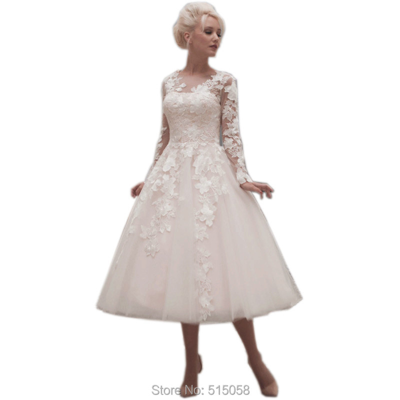 Buy vintage champagne lace long sleeves for Champagne tea length wedding dresses
