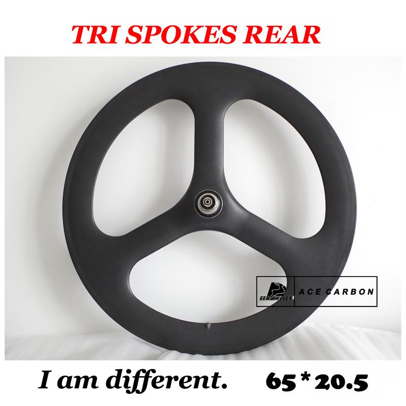Acewheel* Rear Wheel 700C 65mm tri spoke, 3 spoke carbon wheel Road, Track Fixed Gear bike TT/Triathlon Wheel TUBULAR/CLINCHER(China (Mainland))