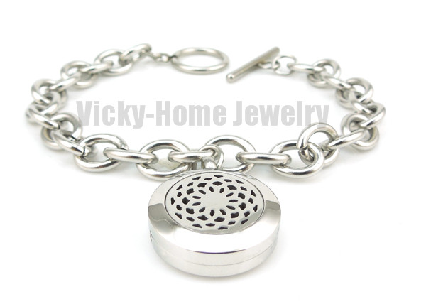Round Silver Lotus (20mm) with Circle Band Aromatherapy / Essential Oils Diffuser Locket Bracelet Jewelry(China (Mainland))