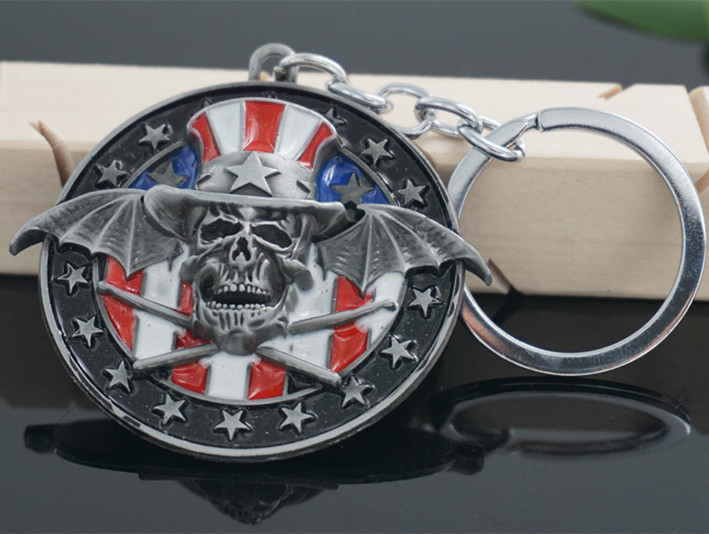 Popular Band New Design Heavy Metal Band Avenged Sevenfold Logo 3D Original Color Metal Keychain(China (Mainland))