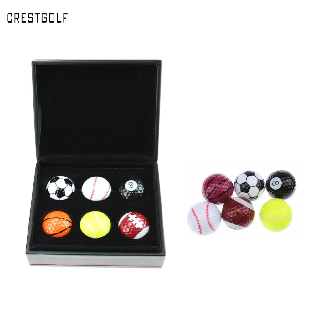 6pcs Novelty Golf Balls in Elegant Box Golf Gifts Football Golf Ball Perfect Golf Gifts(China (Mainland))