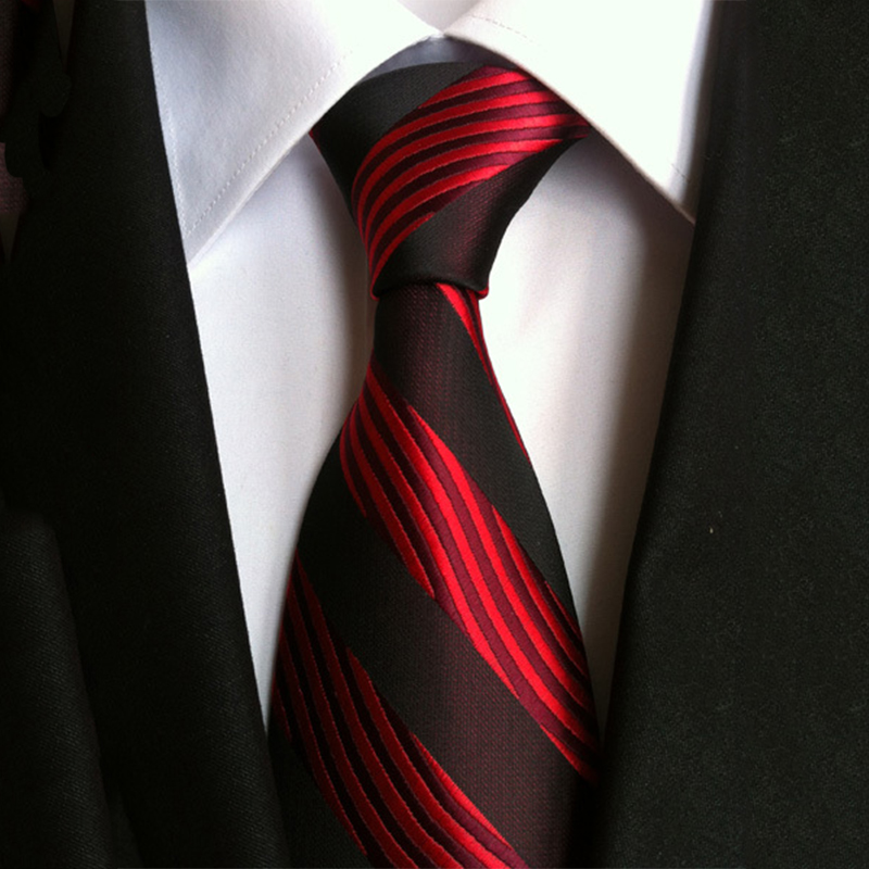 New Fashion Striped Neck Ties for Men Polyester Silk 8cm Wide Neckties Red & Black Wedding Suits Gravatas Business Corbatas Gift(China (Mainland))
