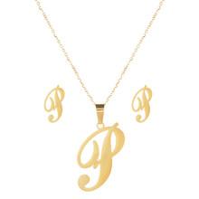 26 מכתב נירוסטה תכשיטי סט זהב צבע האלפבית ארוך שרשרת תליון שרשרת עגיל לנשים חתונה תכשיטים(China)