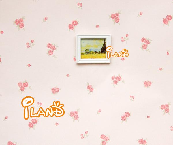 iland 1:12 Dollhouse Miniatrue Bedroom Decoration accessories linen Wallpaper rose flowers Four style total 4 pieces