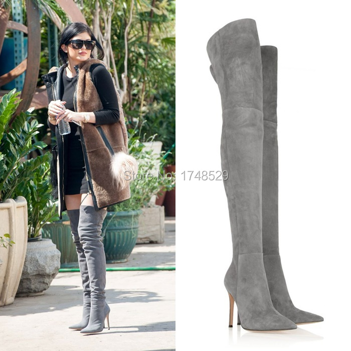 grey thigh high boots
