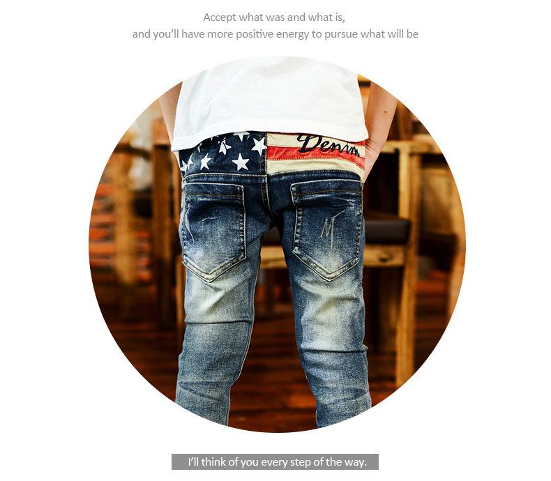 Скидки на Корейский Стиль Пятизвездочный Вышивка Мальчики Ковбойские Длинные Брюки Марка Хорошее Качество Хлопка дети джинсы Мягкие Джинсовый синий цвет