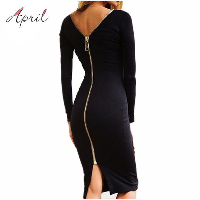 Bodycon sheath dress little black long sleeve party dresses women