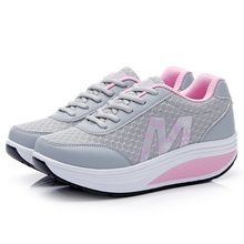 Wedge platform trainers shoes 2015 breathable air mesh summer women casual shoes height increasing swing lose weight shoes