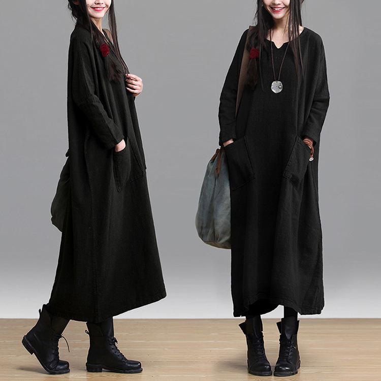 Plus Size Linen Dress Women Loose-Waist Long-Sleeve Long-Design Black Casual Robe Longue Abaya Big Bottom Pocket Free - Be 2 Boutique store