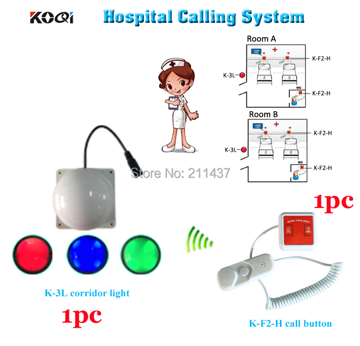Nurse call system K-F2-H installed on each patient bed and room light with 3 color to show and alert for nurse from outside(China (Mainland))