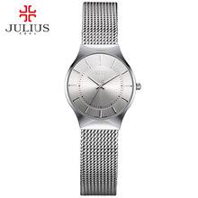 Buy JULIUS JA-577 Women Ultra thin Silver Black Men Mesh Stainless Steel Quartz Analog Fashion Casual Watch Female Wristwatch Clock for $18.17 in AliExpress store