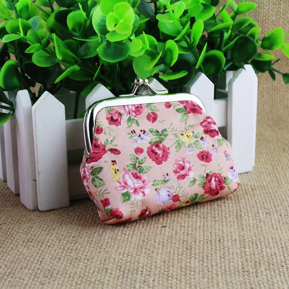 Color Women Lady Retro Packet Vintage Flower Small Wallet Hasp Purse Clutch Bag 2018 Best for Credit Cards Holder Money Purses Hot Pink