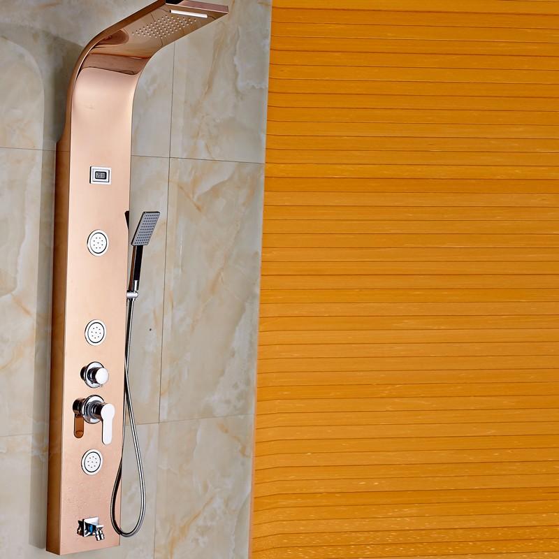 Купить Роскошь Одной Ручкой Душевая Панель с Массажем Jet Настенные Дождь Водопад Душевая Колонна Кран Смесителя