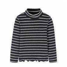Balabala الأطفال الفتيات طويلة الأكمام تي شيرت 2018 جديد الشتاء عالية طوق الكبس قميص لفتاة الدانتيل تنحنح الدافئة الاطفال المحملات(China)