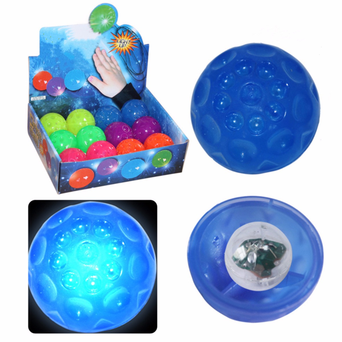 New 6cm Light Up Flashing Light Bouncing Meteor Soft Stress Ball Kids Boys Party Stocking Filler Pet Dog Sport Toy Baby Ball Toy(China (Mainland))