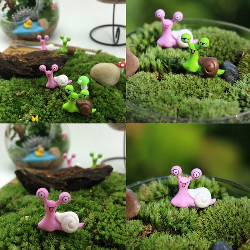 4pcs lot cartoon snails fairy garden miniatures figurines for Figurine decoration jardin