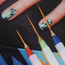 3pcs/set Painting Striping nail polish UV Gel Pen Nail Art Brush Set Design DIY Acrylic Drawing nail tools(China (Mainland))