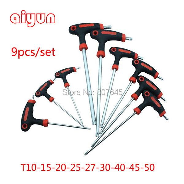 9pcs/set Long Arm Star Torx Allen Hex Key Wrench Spanner set hexagon wrench set T type<br><br>Aliexpress