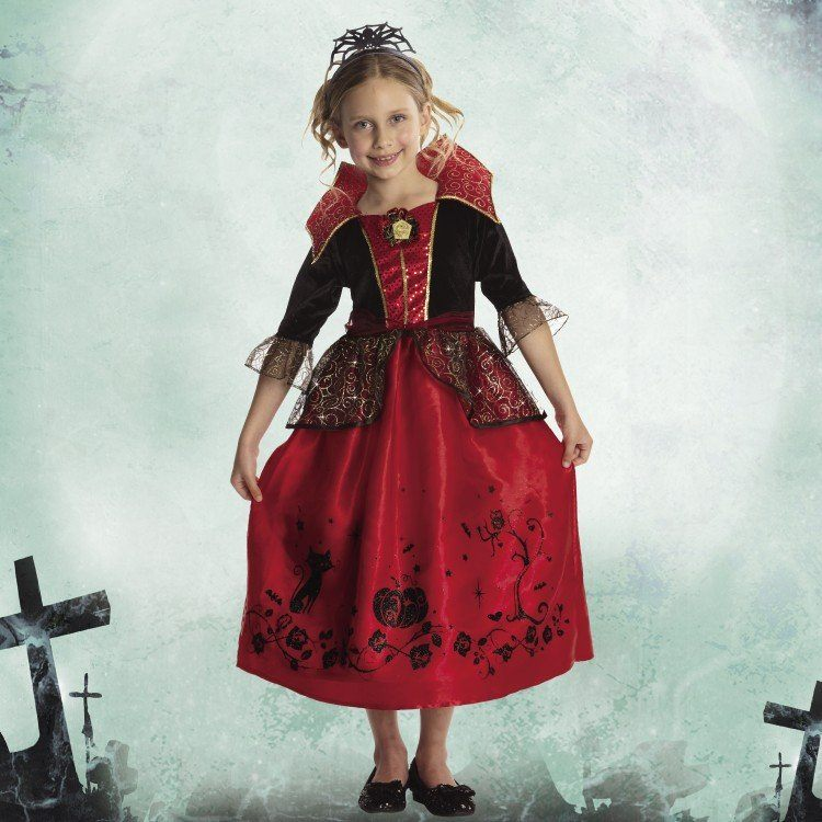 2015 new Deluxe Children Vampire princess Girls Classic Halloween costumes Quality Carnival party dress up for Kids(China (Mainland))
