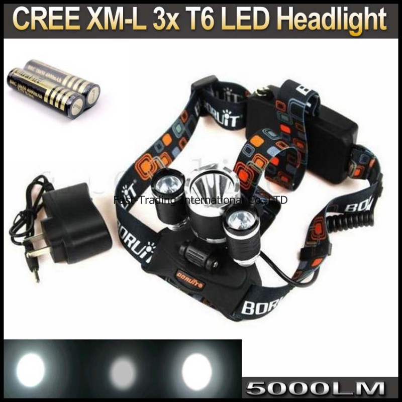 3x CREE XM-L XML T6 LED 5000Lm 3T6 Rechargeable Headlamp Head light + 2x 4000MAH 18650 Battery Charger - Fast-Trading Center store