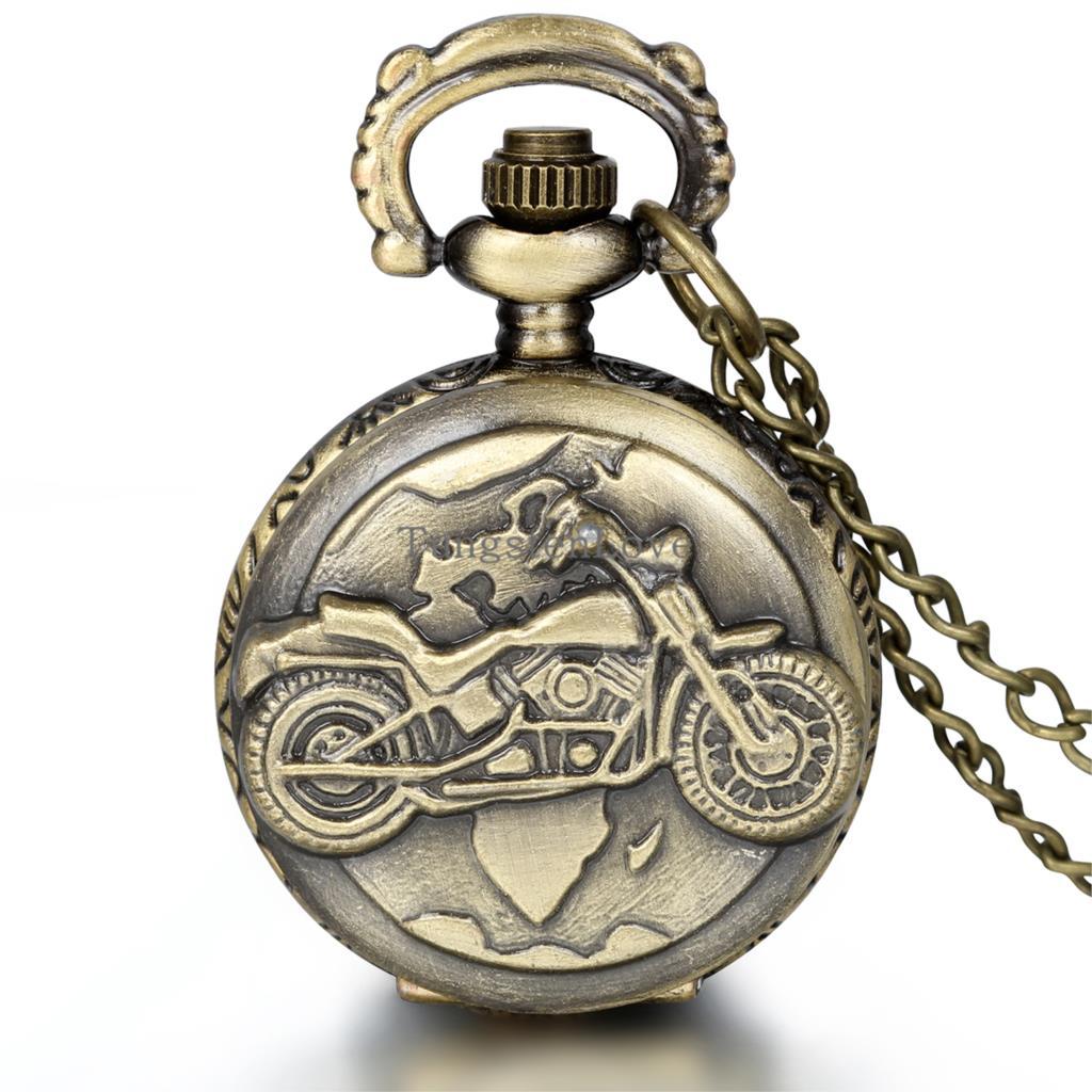 New Steampunk Vintage Archaize Bronze Motorcycle MOTO Pendant Quartz Pocket Watch Men Gift relogio de bolso(China (Mainland))