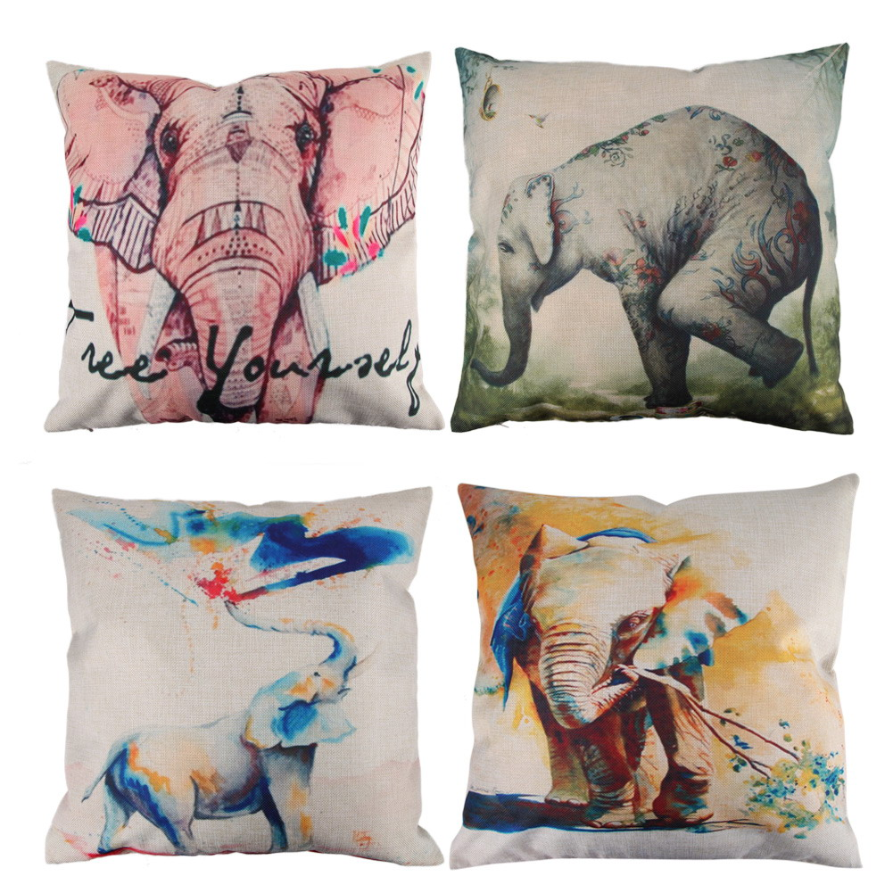 Creative Elephant Pattern Cotton Pillow Cover Pillow Cushion Cover Home Decoration Cheap Vintage ...