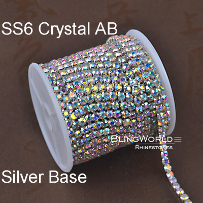 10 Yards China High Quality Silver Color 2mm SS6 Crystal AB Densify Strass Rhinestone Chain(China (Mainland))