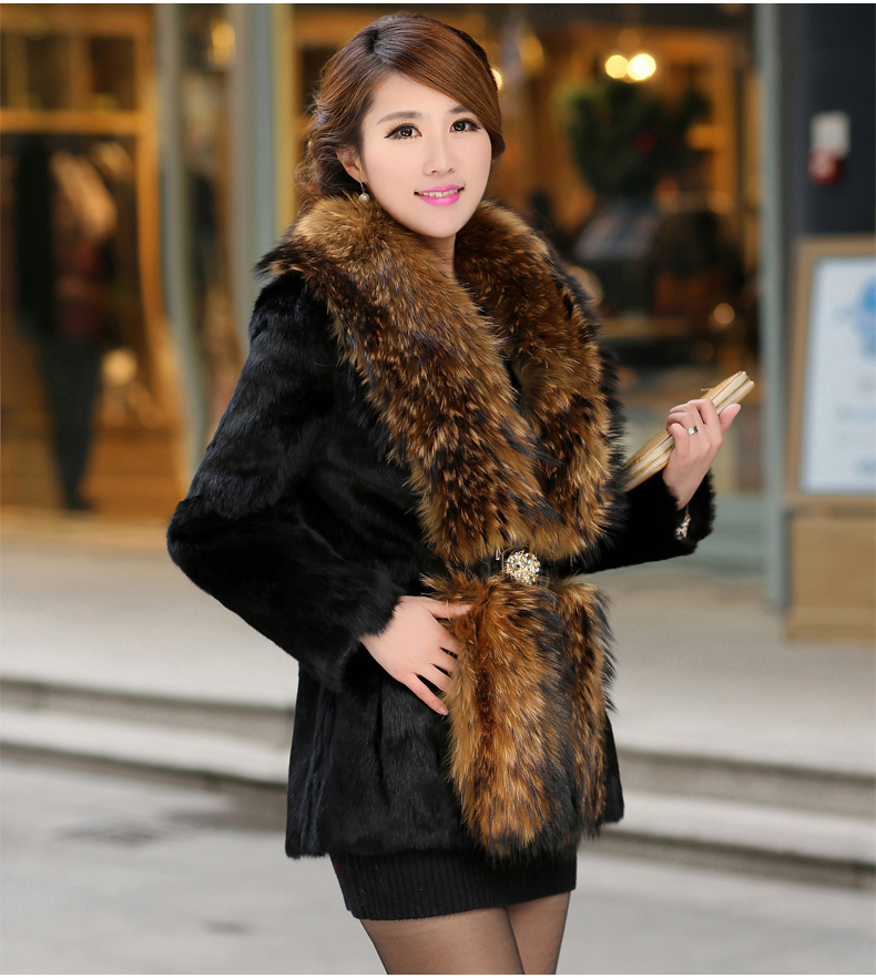 Black/White Women'S Casual Oversized Raccoon Fur Collar Long Jacket Large Size Patchwork Winter Coat Overcoat Outwear J274 - yue clothes store